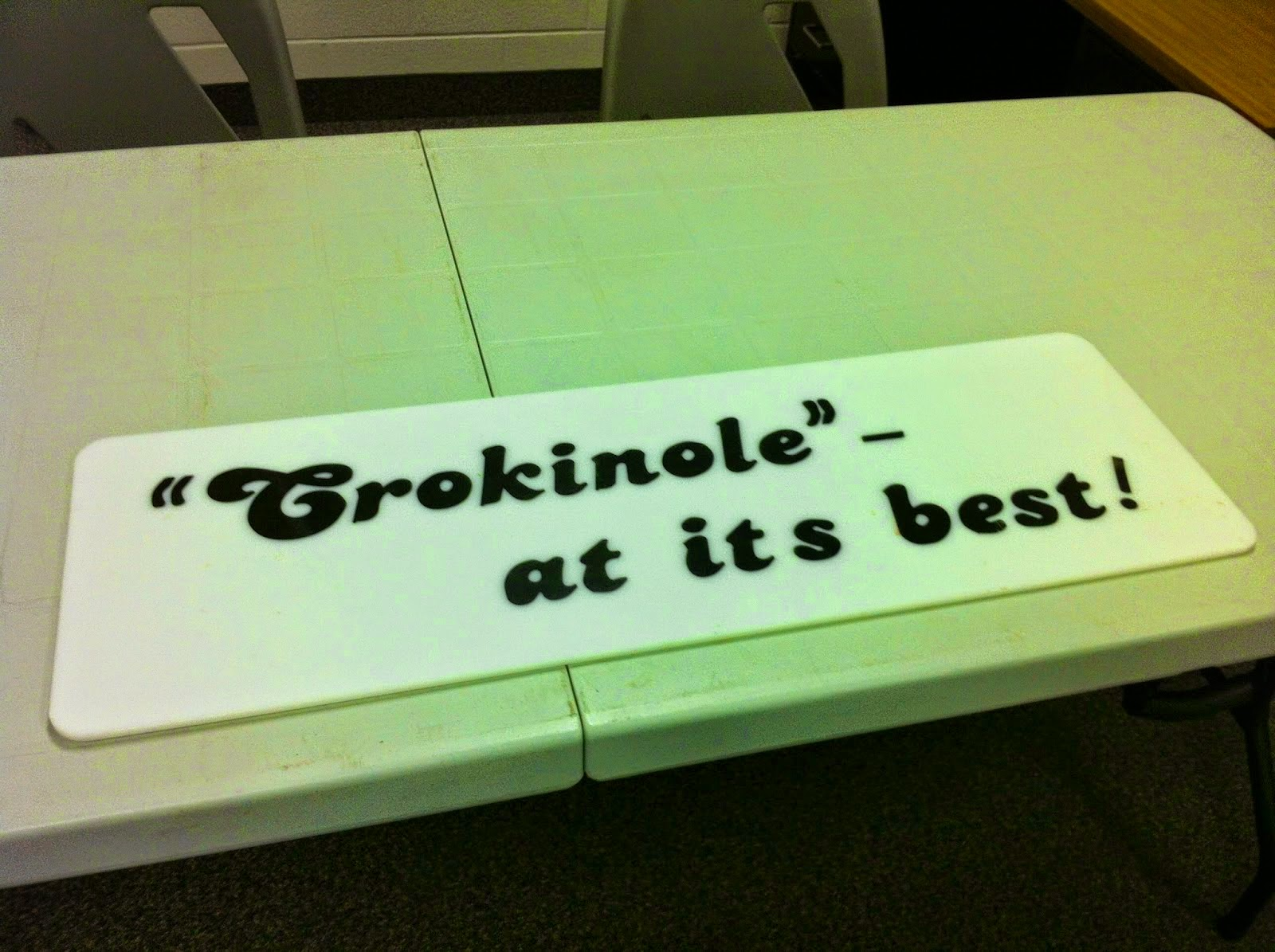 Crokinole at its best! sign from St. Jacobs