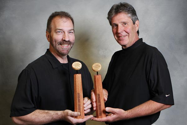 2015 World Crokinole Doubles Champions, Tony Snyder and Jon Conrad. Photo Credit: Bill Gladding, WCC