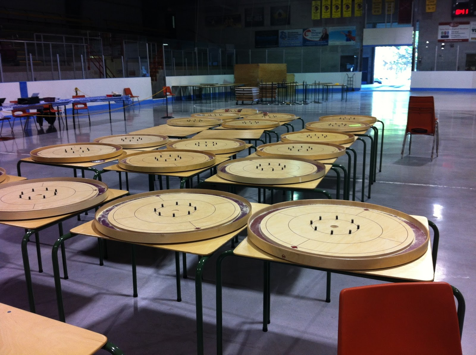A small sample of all of the boards that were in action at the 2015 World Crokinole Championship.