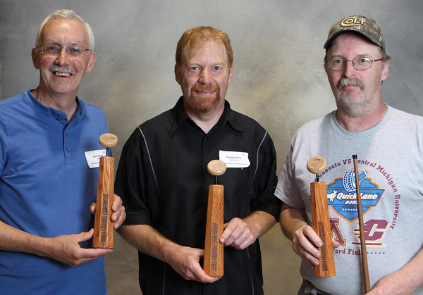 Ray Beierling (centre) along with 20s Champions in Rec. Singles, Leon Wease (left) and Cues Singles. Mark Kuehl (right). Photo Credit: Bill Gladding