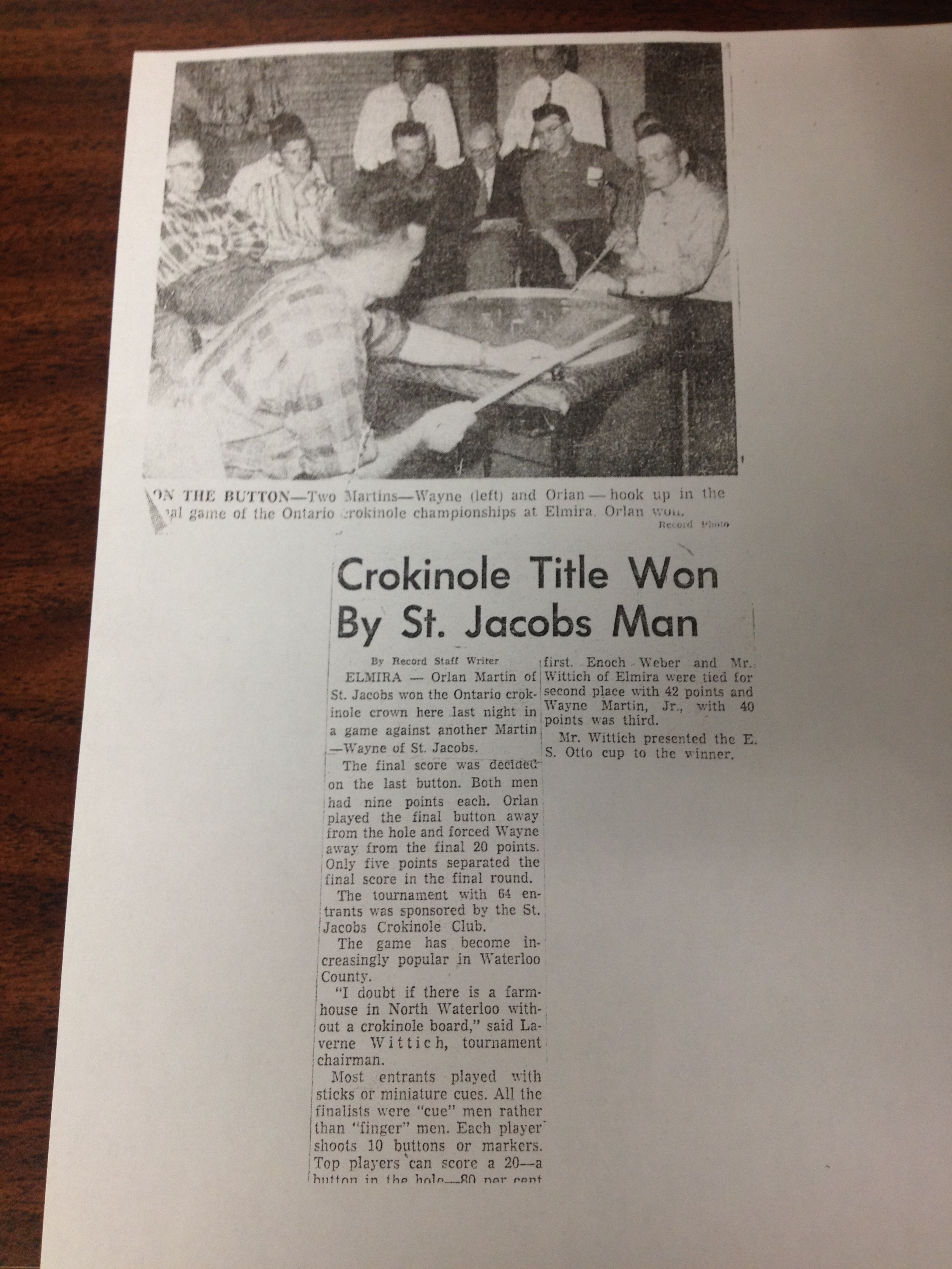 Picture of the 1960 article written in The Record about the first ever Ontario Crokinole Championship