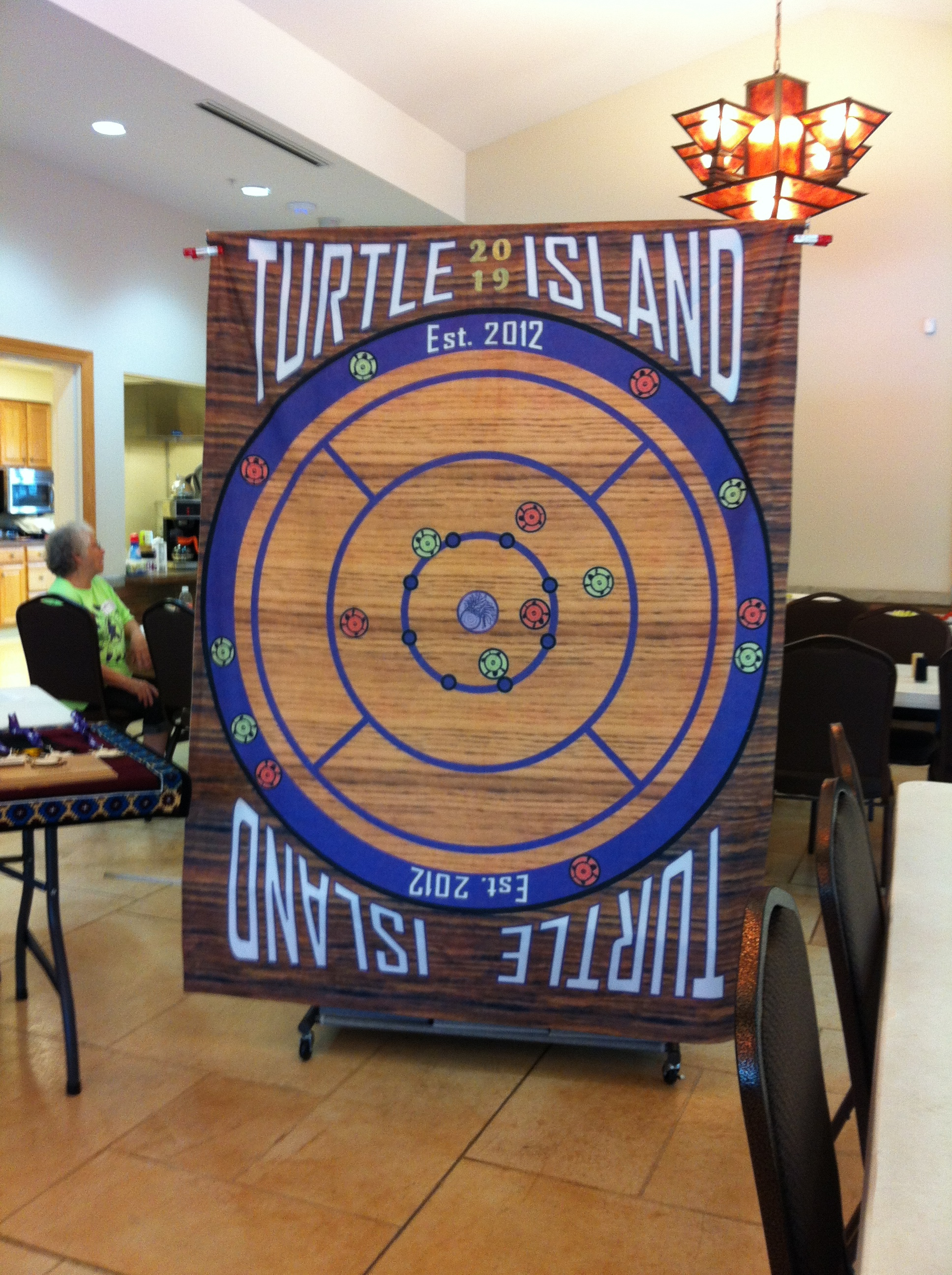 The custom designed awards backdrop for the Turtle Island event
