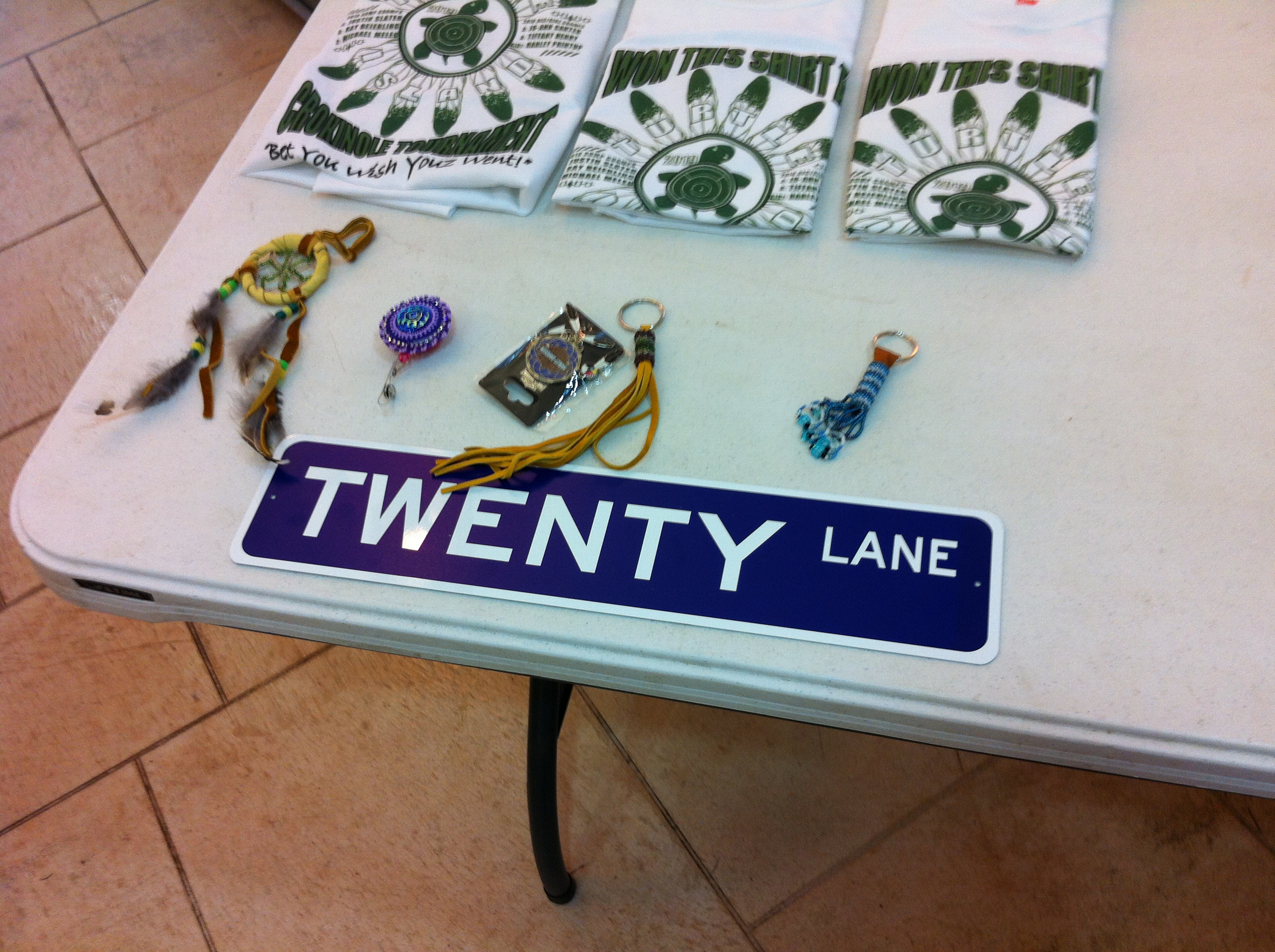 A picture of a street sign denoting Twenty Lane