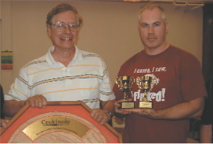 Fred Slater and Brian Cook celebrate winning the 2010 ODCC title