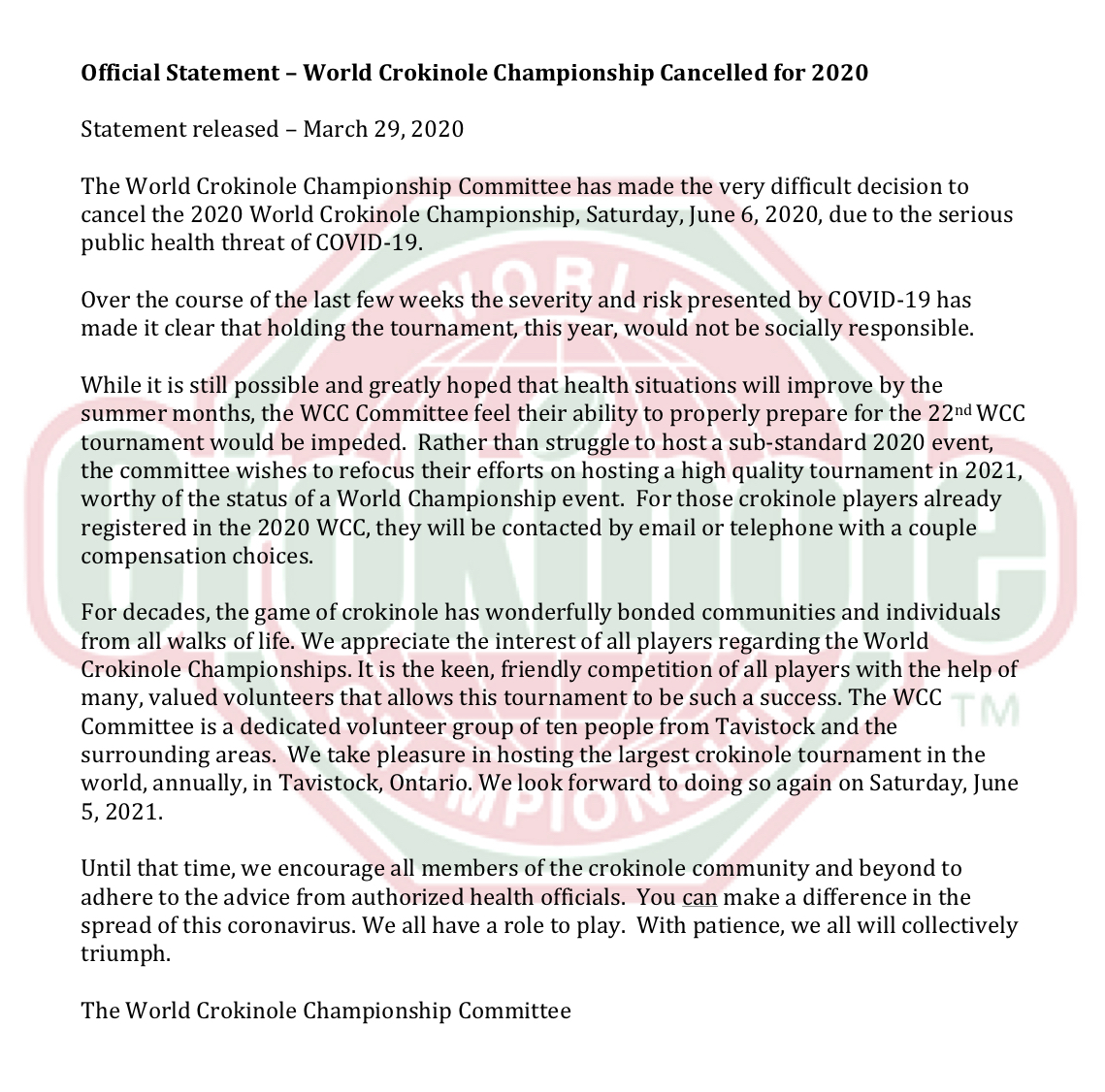 2020 WCC Cancellation Statement