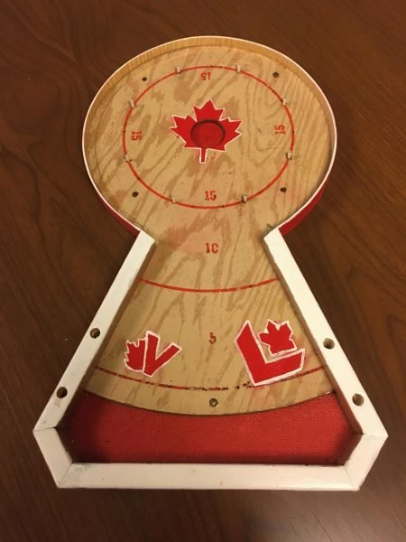 A crafted 20 crokinole board belonging to MP, Nathaniel Erskine-Smith